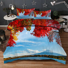 Red Maple Lake 3D Quilt Duvet Doona Cover Set Single Double Queen King Print