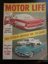 Motor Life Magazine March 1958 Chevy Convertible All New T-Bird  (VV) R FF