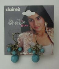 1cd Turquoise bead vintage look dangle EARRINGS claire's jewelry