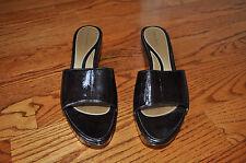 Womens TAHARI Dark Brown Open Toe Wedge Heel Shoes Size 8.5 M ~NICE~