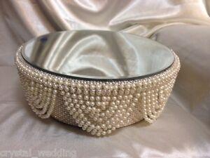 Ivory Pearl  drape & diamante crystal finish cake stand  for wedding cake