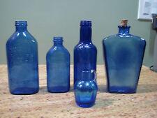 5 Cobult Blue Bottles/Flask  Includes 1 Canada Flask W/Cork, etc, USC#675