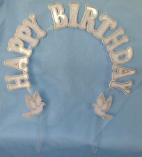 "Happy Birthday cake decoration white plastic arch 9"" x 9"" gold accent"