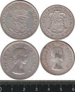 South Africa: 1955 2½ Shillings & 2 Shillings Queen Elizabeth II silver (2)