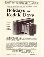 "Eastman Kodak CAMERA Antique FOLDING POCKET Vintage 1898 Model  8x10"" REPRINT AD"