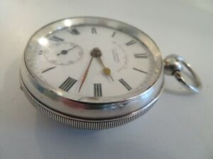 1900 SOLID SILVER J G GRAVES 7 JEWEL ENGLISH LEVER KEY WIND POCKET WATCH WORKING