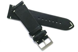 24mm Black/White Leather Classic Style Watch Band Handmade For Nixon 24 & Others