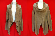 GARNET HILL Womens Brown Cashmere Open Knit Crochet Cardigan Sweater Poncho XL