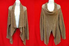 GARNET HILL Womens Brown Cashmere Open Knit Crochet Cardigan Sweater Poncho XL