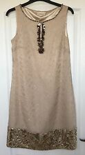 """""""Monsoon"""" Aisha Dress, Size 12, Beige/Gold embellished, Lined, Excellent Cond"""