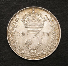 1917, Great Britain, George V. Attractive Silver 3 Pence Coin. KM-813. AU-UNC!