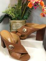 "COACH ""Meggie"" Brown Calf Leather Crisscross Slides Sandals Sz 7.5B #A01760"