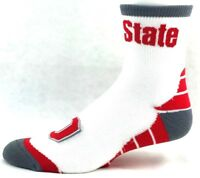 Ohio State Buckeyes NCAA Vortex Quarter Socks White Red Gray