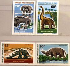 KONGO BRAZZAVILLE 1970 257-60 U 229-32 Dinosaurier Dinosaurs Animals Tiere MNH