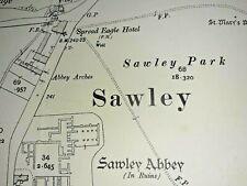 Old Antique Ordnance Map 1908 Yorkshire CLXXXII.4 Sawley Village ...