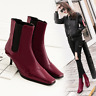 Womens Stilettos Heels Square Toe Patent Leather Shoes Pull On Ankle Boots M462