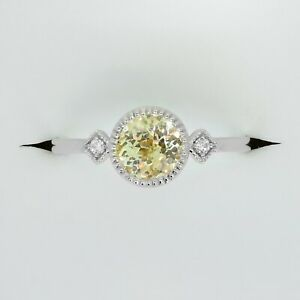 Unheated Yellow Sapphire and Diamond Ring 14k White Gold