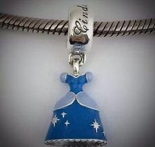 New S925 inspired Sterling Silver Enamel Dangle Disney Cinderella Dress Charm