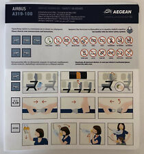Aegean Airlines Airbus A319 safety card