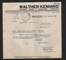 BERLIN, Brief 1939, Walther Kenning Maschinen-Kessel-Geldschrank-Transporte