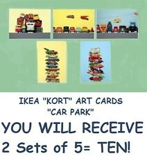 "IKEA Kort Art Card""Car Park""2Sets~10Prints!Retro Vintage Truck Decoupage Project"