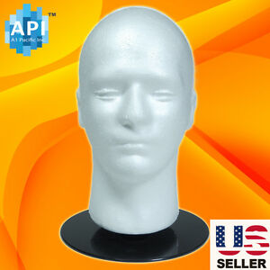 "Male STYROFOAM FOAM MANNEQUIN MANIKIN head Holder Stand wig display hat 11"""