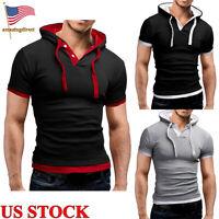 Mens Slim Fit Short Sleeves T-shirts Tops V-Neck Hoodie Casual Hooded Basic Tee