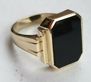 14ct Yellow Gold Onyx Designer Signet Ring Pinky Size T US 9 3/4 9.8g Excellent