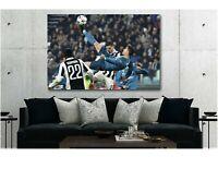 CR7 Cristiano Ronaldo Bicycle Kick Goal Canvas Print Art Home Decor Wall