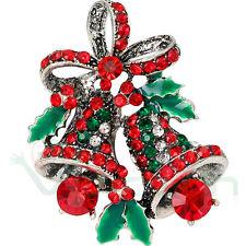 Spilla natalizia campane Campanelle Natale accessorio brillantini bijoux donna