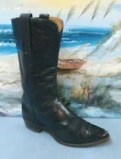 FRYE WOMENS BLACK LEATHER PULL ON Cowboy Western Brown Boots SIZE 6.5 C  9103