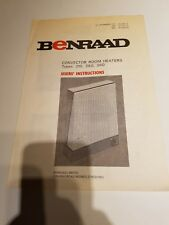 vintage Benraad convector room heater manual