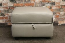 WORLD OF LEATHER STORAGE FOOTSTOOL IN FEATHER GREY LEATHER (755)