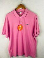 LACOSTE Mens Polo Shirt DEVANLAY Short Sleeve BUBBLEGUM Pink Size 6 Large P40