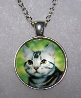 Ladies Modern 10K Yellow Gold Cat Kitten Animal Cute Charm Pendant 20mm