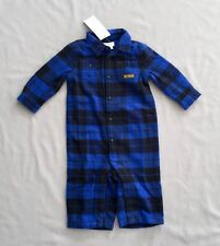 NWT RALPH LAUREN Kids BABY BOYS BLUE FLANNEL PLAID ONE-PIECE SZ 6 MONTHS 00