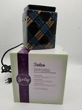 Scentsy 2012 Warmer Tartan Full Size Rectangle New Open Box Black, Blue & Tan