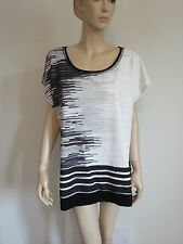 AVENUE PLUS 14/16 BLACK WHITE SCOOP NECK DOLMAN SLEEVE LOOSE BOXY TUNIC TOP
