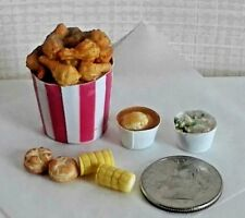 Dollhouse Miniatures Bucket Fried Chicken Combo Dinner Bright deLights 1:12