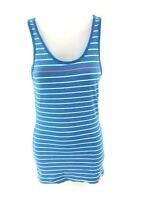 SUPERDRY Womens Vest Top S Small Blue White Stripes Cotton