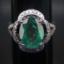 1,60 Karat 585er Weißgold Natürlich Grün Smaragd IGI Zertifiziert Diamant Ring