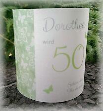 4 x Tischlicht Windlicht Tischdeko Deko runder Geburtstag Schmetterling grün
