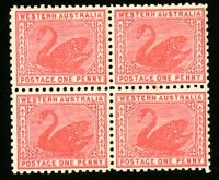 Western Australia Stamps # 90 XF OG NH Fresh Block of 4 Scott Value $140.00