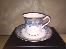 """Noritake Japan China Blue Floral Grand Terrace Footed Cup & Saucer Set 3-1/8"""""""