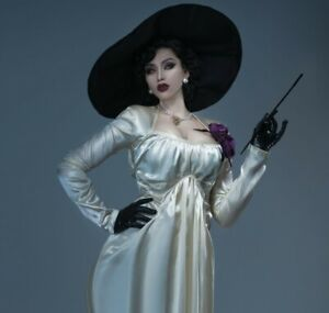 Resident Evil Village Alcina Dimitrescu Cosplay Costume Outfit Long Dress