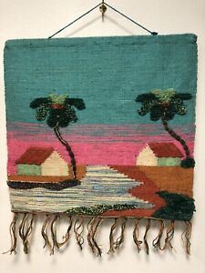 COLORFUL VINTAGE 1960's -70's WOVEN SCENIC JUTE WALLHANGING HIPPIE BOHO