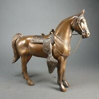 "Vintage BRONZ Finish Cast Metal HORSE & SADDLE Statue Reins Stirrups 10"" x 11"""