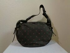 KATE SPADE BROWN W/RED DOT COTTON FABRIC BROWN LEATHER TRIM/STRAP HOBO BAG