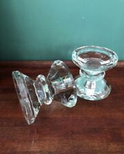 Crystal Candlestick Holder,Reversible,Cut Faceted Prism Pillar/Taper Candle