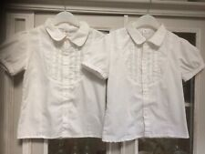2x Adams Age 8 White School Blouses Super Quick Rip Tape Fastening